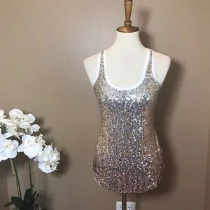 Express Gold & White Sequined Tank Top XS